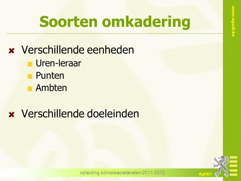 www.agodi.be AgODi opleiding schoolsecretariaten 2011-2012 Soorten omkadering Verschillende eenheden Uren-leraar Punten Ambten Verschillende doeleinde