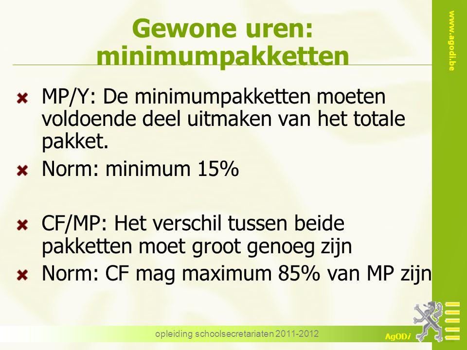 www.agodi.be AgODi opleiding schoolsecretariaten 2011-2012 Gewone uren: minimumpakketten MP/Y: De minimumpakketten moeten voldoende deel uitmaken van