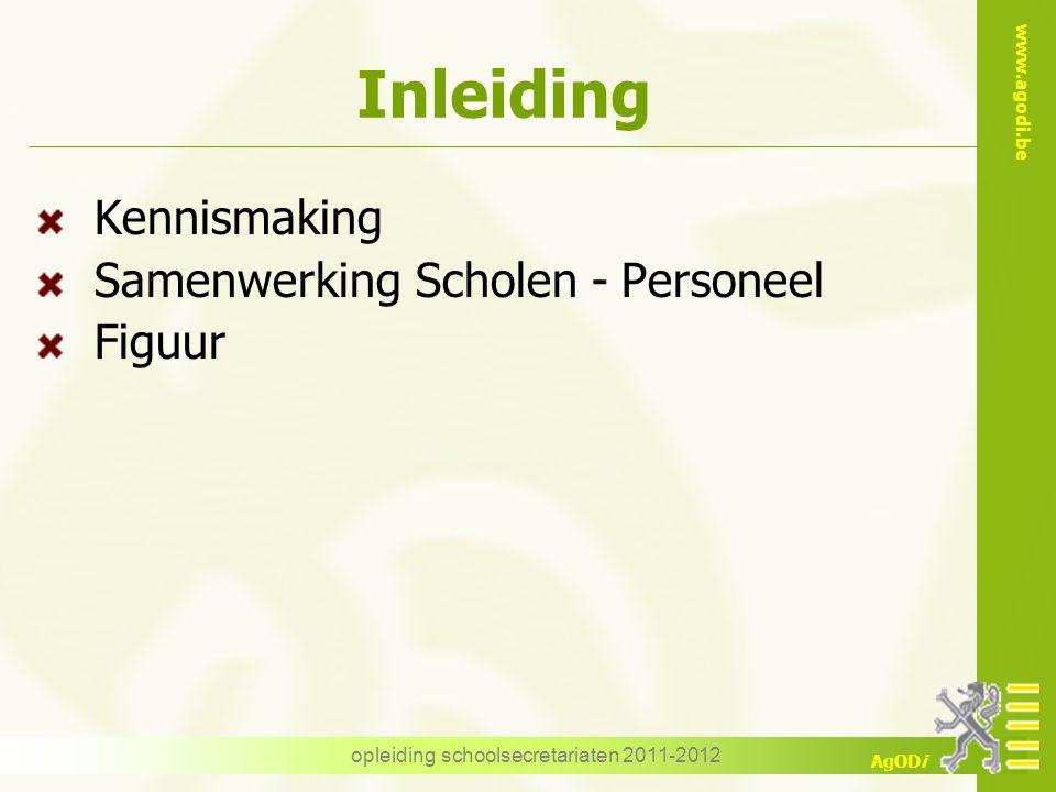 www.agodi.be AgODi opleiding schoolsecretariaten 2011-2012 Inleiding Kennismaking Samenwerking Scholen - Personeel Figuur