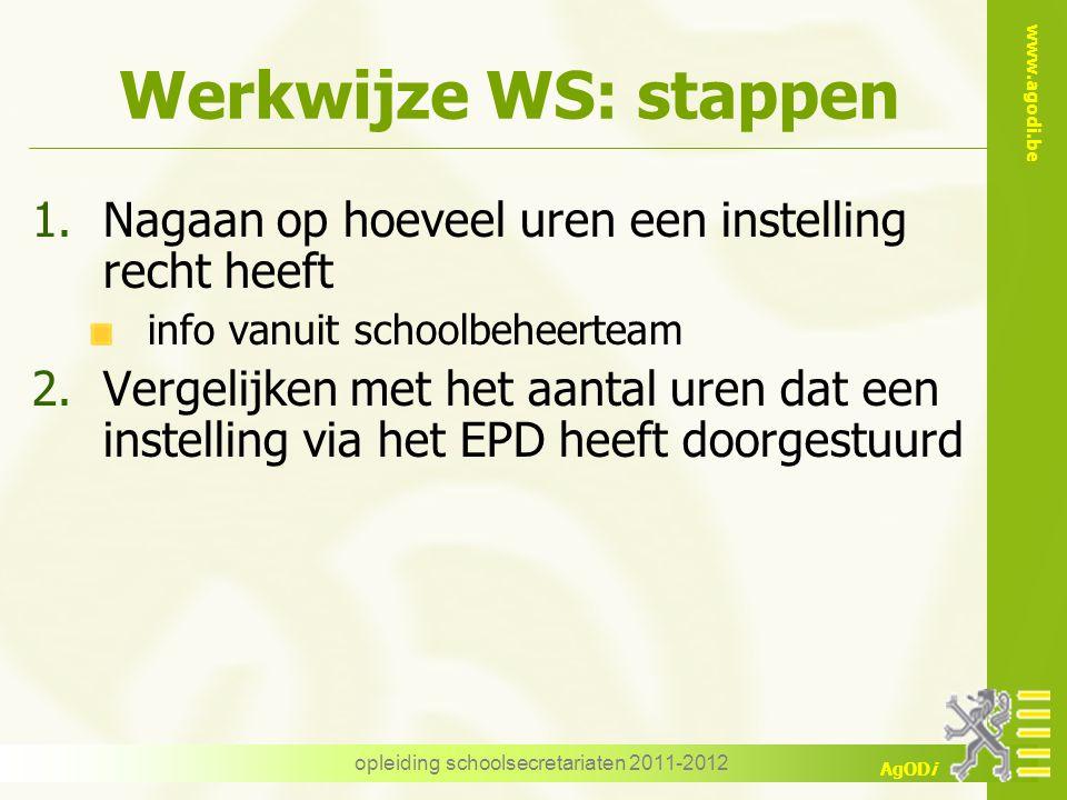 www.agodi.be AgODi opleiding schoolsecretariaten 2011-2012 Werkwijze WS: stappen 1.Nagaan op hoeveel uren een instelling recht heeft info vanuit schoo