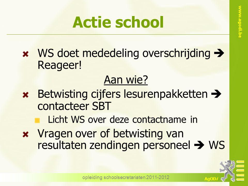 www.agodi.be AgODi opleiding schoolsecretariaten 2011-2012 Actie school WS doet mededeling overschrijding  Reageer! Aan wie? Betwisting cijfers lesur