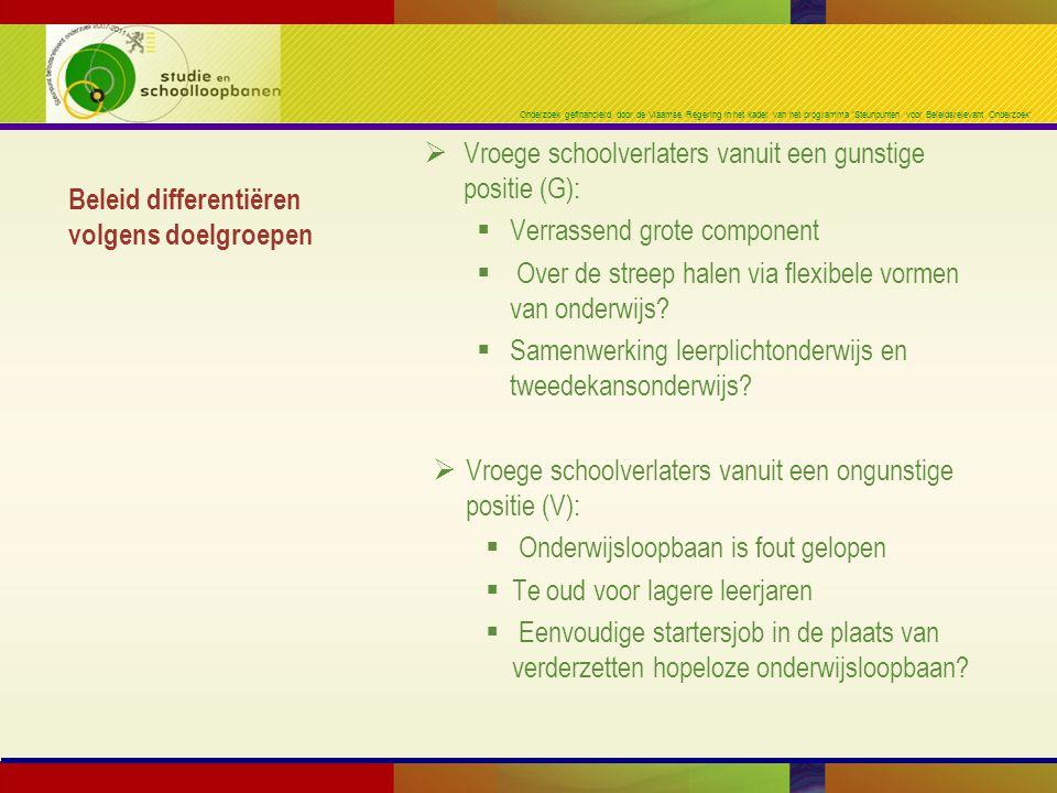 Onderzoek gefinancierd door de Vlaamse Regering in het kader van het programma 'Steunpunten voor Beleidsrelevant Onderzoek' Beleid differentiëren volg