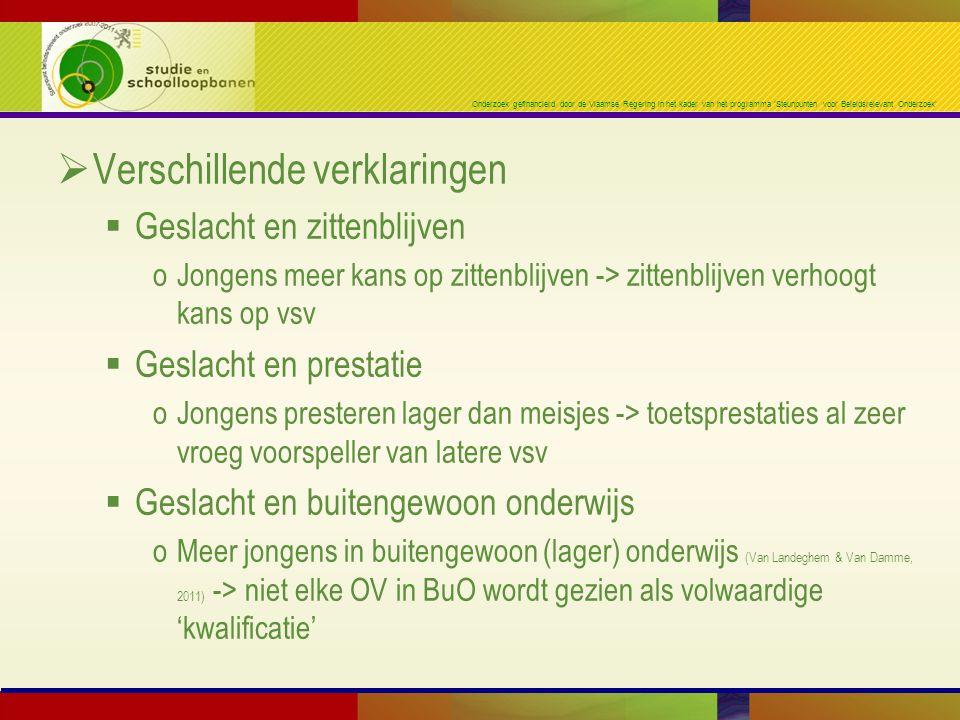 Onderzoek gefinancierd door de Vlaamse Regering in het kader van het programma 'Steunpunten voor Beleidsrelevant Onderzoek'  Verschillende verklaring