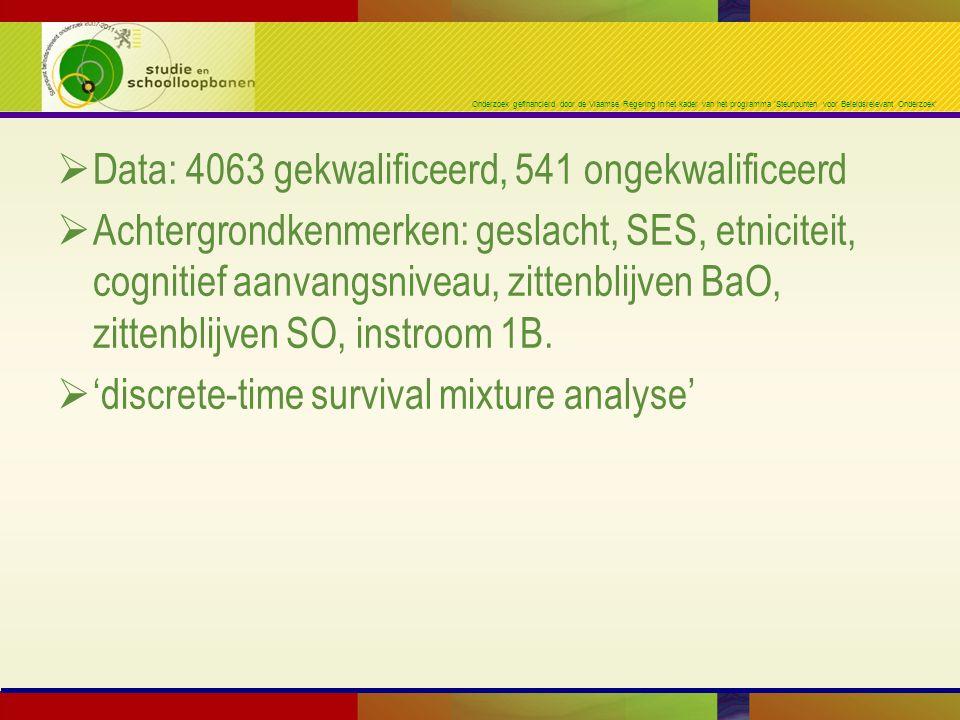 Onderzoek gefinancierd door de Vlaamse Regering in het kader van het programma 'Steunpunten voor Beleidsrelevant Onderzoek'  Data: 4063 gekwalificeerd, 541 ongekwalificeerd  Achtergrondkenmerken: geslacht, SES, etniciteit, cognitief aanvangsniveau, zittenblijven BaO, zittenblijven SO, instroom 1B.