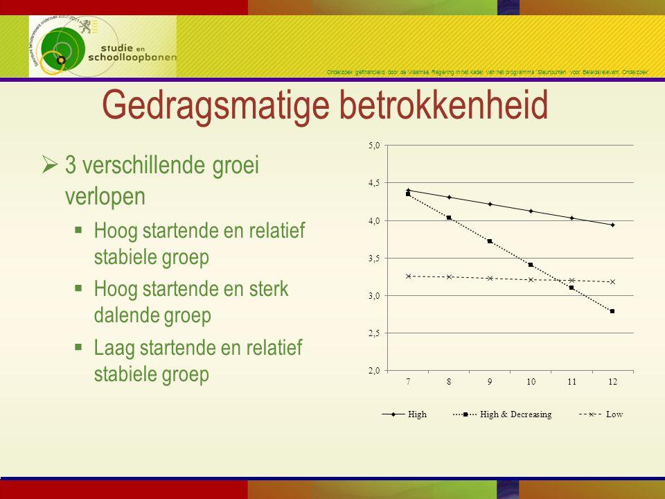 Onderzoek gefinancierd door de Vlaamse Regering in het kader van het programma 'Steunpunten voor Beleidsrelevant Onderzoek' Gedragsmatige betrokkenhei