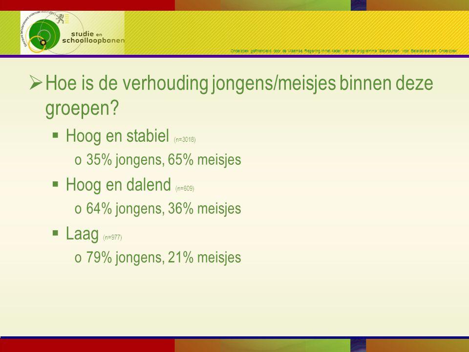 Onderzoek gefinancierd door de Vlaamse Regering in het kader van het programma 'Steunpunten voor Beleidsrelevant Onderzoek'  Hoe is de verhouding jongens/meisjes binnen deze groepen.