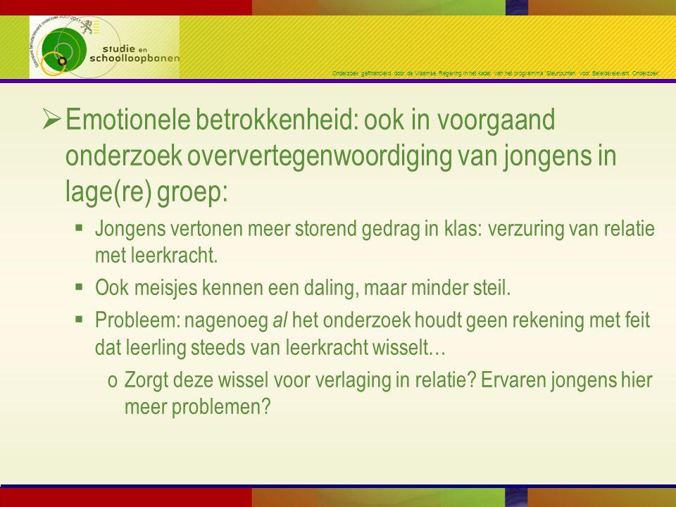 Onderzoek gefinancierd door de Vlaamse Regering in het kader van het programma 'Steunpunten voor Beleidsrelevant Onderzoek'  Emotionele betrokkenheid