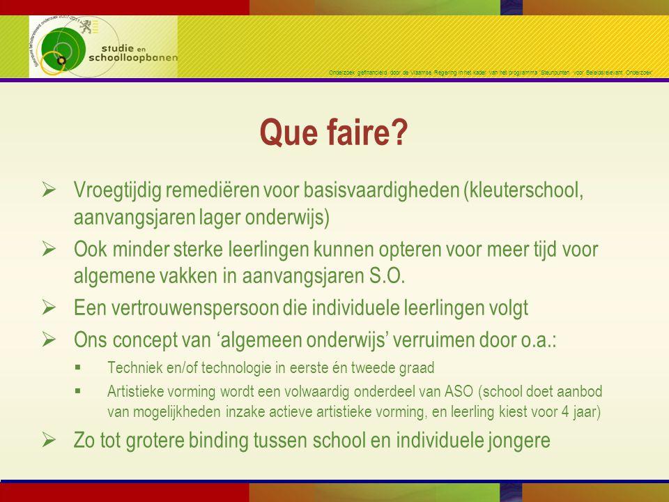 Onderzoek gefinancierd door de Vlaamse Regering in het kader van het programma 'Steunpunten voor Beleidsrelevant Onderzoek'  Vroegtijdig remediëren v