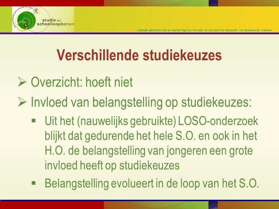 Onderzoek gefinancierd door de Vlaamse Regering in het kader van het programma 'Steunpunten voor Beleidsrelevant Onderzoek'  Overzicht: hoeft niet  Invloed van belangstelling op studiekeuzes:  Uit het (nauwelijks gebruikte) LOSO-onderzoek blijkt dat gedurende het hele S.O.