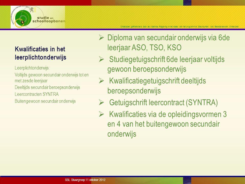 Onderzoek gefinancierd door de Vlaamse Regering in het kader van het programma 'Steunpunten voor Beleidsrelevant Onderzoek' Kwalificaties in het leerp