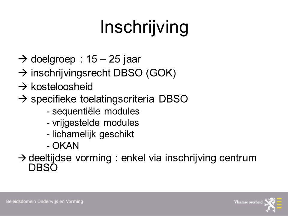 Inschrijving  doelgroep : 15 – 25 jaar  inschrijvingsrecht DBSO (GOK)  kosteloosheid  specifieke toelatingscriteria DBSO - sequentiële modules - vrijgestelde modules - lichamelijk geschikt - OKAN  deeltijdse vorming : enkel via inschrijving centrum DBSO