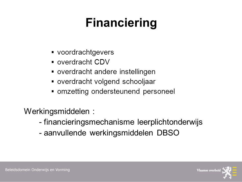 Financiering  voordrachtgevers  overdracht CDV  overdracht andere instellingen  overdracht volgend schooljaar  omzetting ondersteunend personeel Werkingsmiddelen : - financieringsmechanisme leerplichtonderwijs - aanvullende werkingsmiddelen DBSO