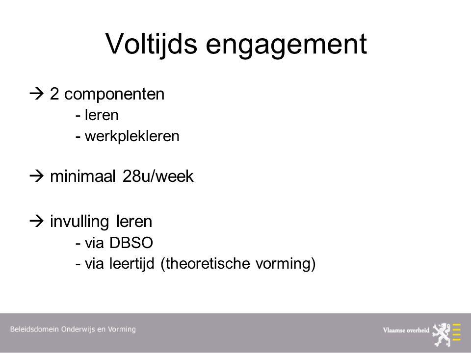 Voltijds engagement  2 componenten - leren - werkplekleren  minimaal 28u/week  invulling leren - via DBSO - via leertijd (theoretische vorming)