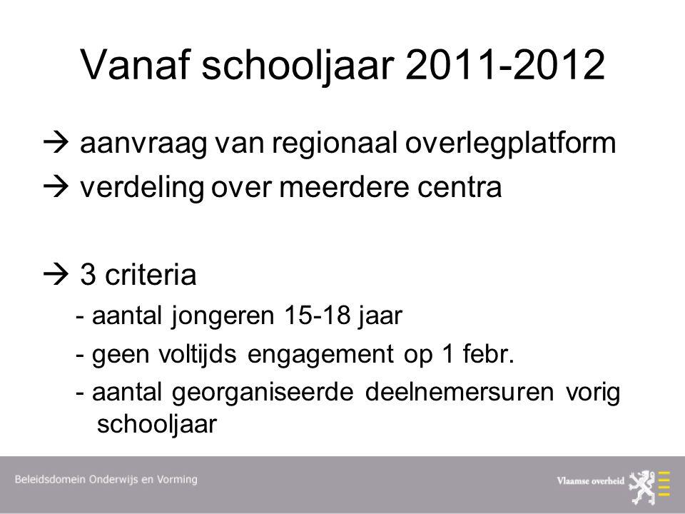 Vanaf schooljaar 2011-2012  aanvraag van regionaal overlegplatform  verdeling over meerdere centra  3 criteria - aantal jongeren 15-18 jaar - geen voltijds engagement op 1 febr.