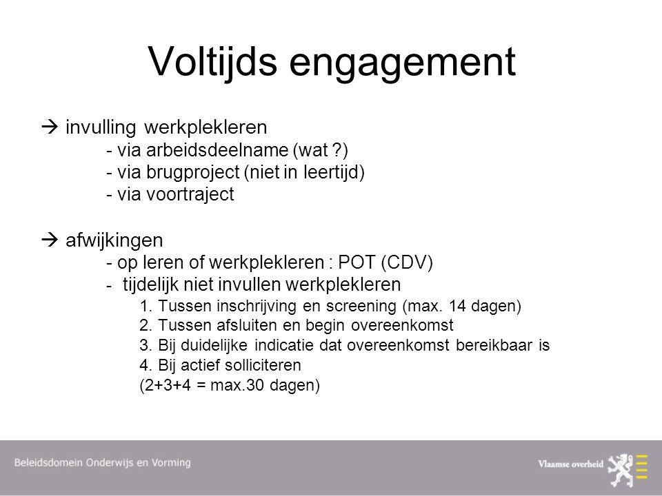 Voltijds engagement  invulling werkplekleren - via arbeidsdeelname (wat ?) - via brugproject (niet in leertijd) - via voortraject  afwijkingen - op leren of werkplekleren : POT (CDV) - tijdelijk niet invullen werkplekleren 1.