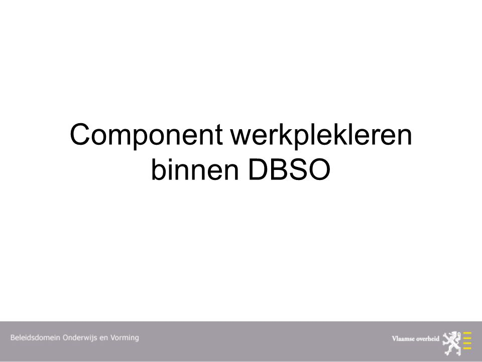 Component werkplekleren binnen DBSO