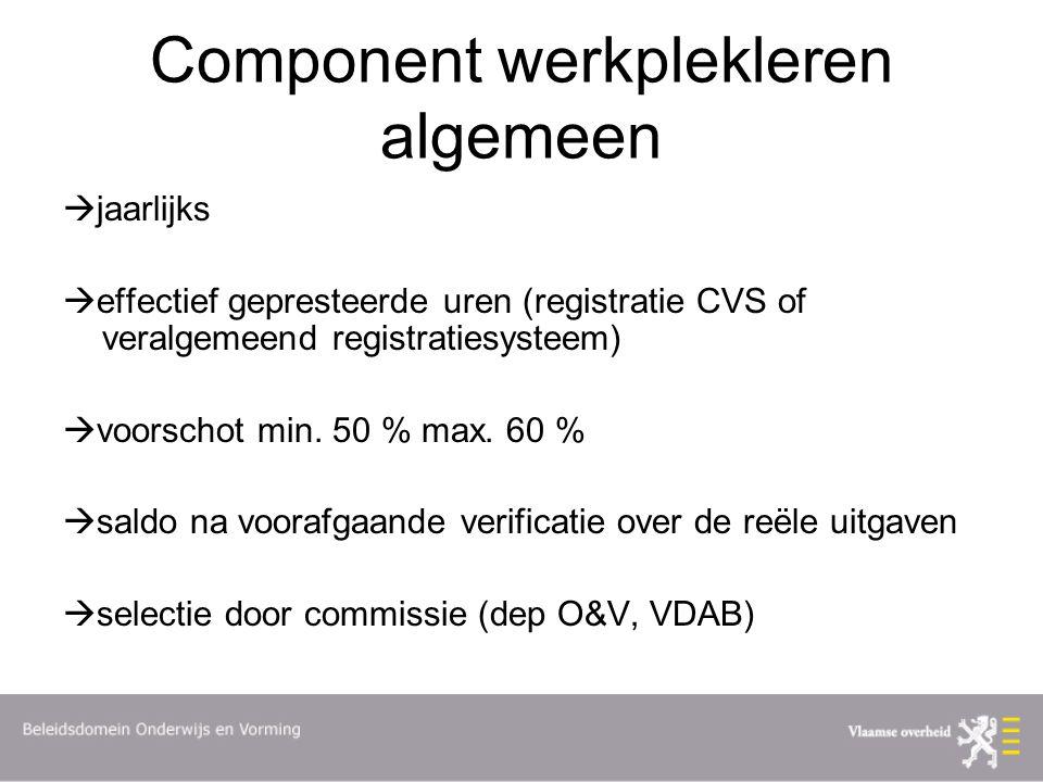 Component werkplekleren algemeen  jaarlijks  effectief gepresteerde uren (registratie CVS of veralgemeend registratiesysteem)  voorschot min.