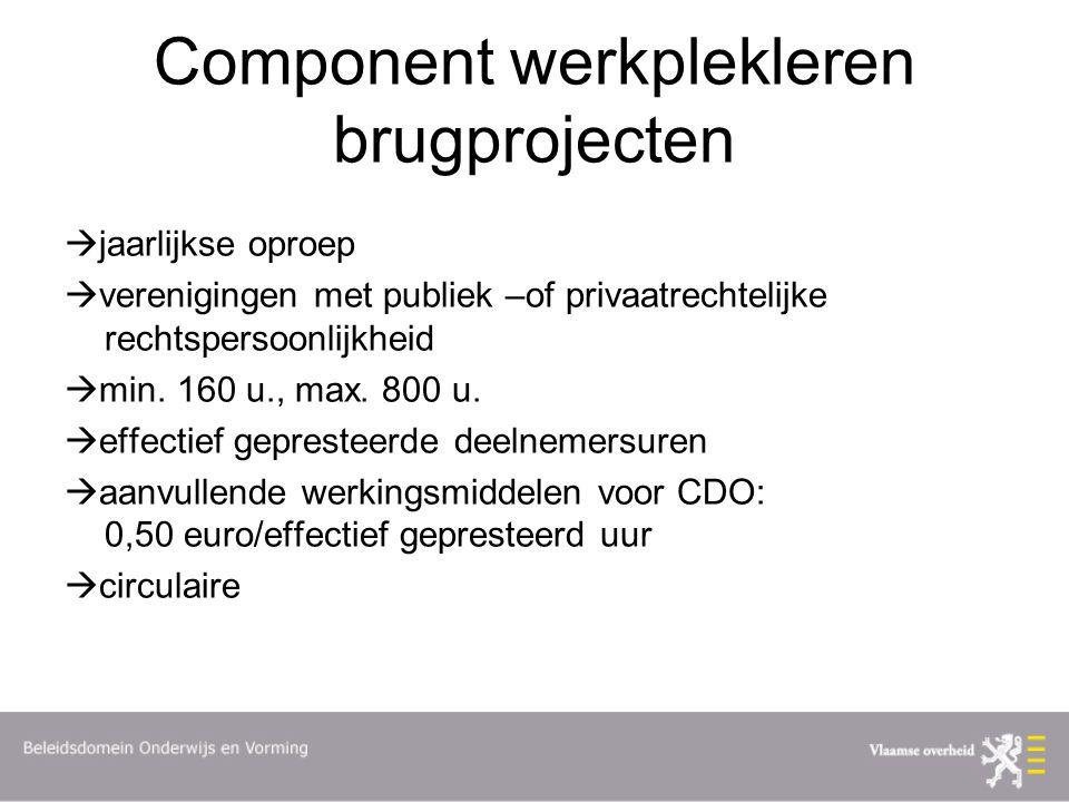 Component werkplekleren brugprojecten  jaarlijkse oproep  verenigingen met publiek –of privaatrechtelijke rechtspersoonlijkheid  min.