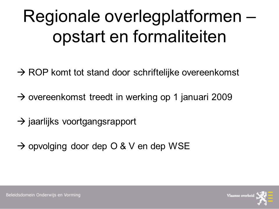 Regionale overlegplatformen – opstart en formaliteiten  ROP komt tot stand door schriftelijke overeenkomst  overeenkomst treedt in werking op 1 januari 2009  jaarlijks voortgangsrapport  opvolging door dep O & V en dep WSE