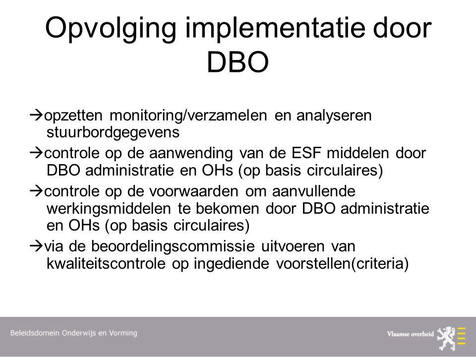 Opvolging implementatie door DBO  opzetten monitoring/verzamelen en analyseren stuurbordgegevens  controle op de aanwending van de ESF middelen door DBO administratie en OHs (op basis circulaires)  controle op de voorwaarden om aanvullende werkingsmiddelen te bekomen door DBO administratie en OHs (op basis circulaires)  via de beoordelingscommissie uitvoeren van kwaliteitscontrole op ingediende voorstellen(criteria)