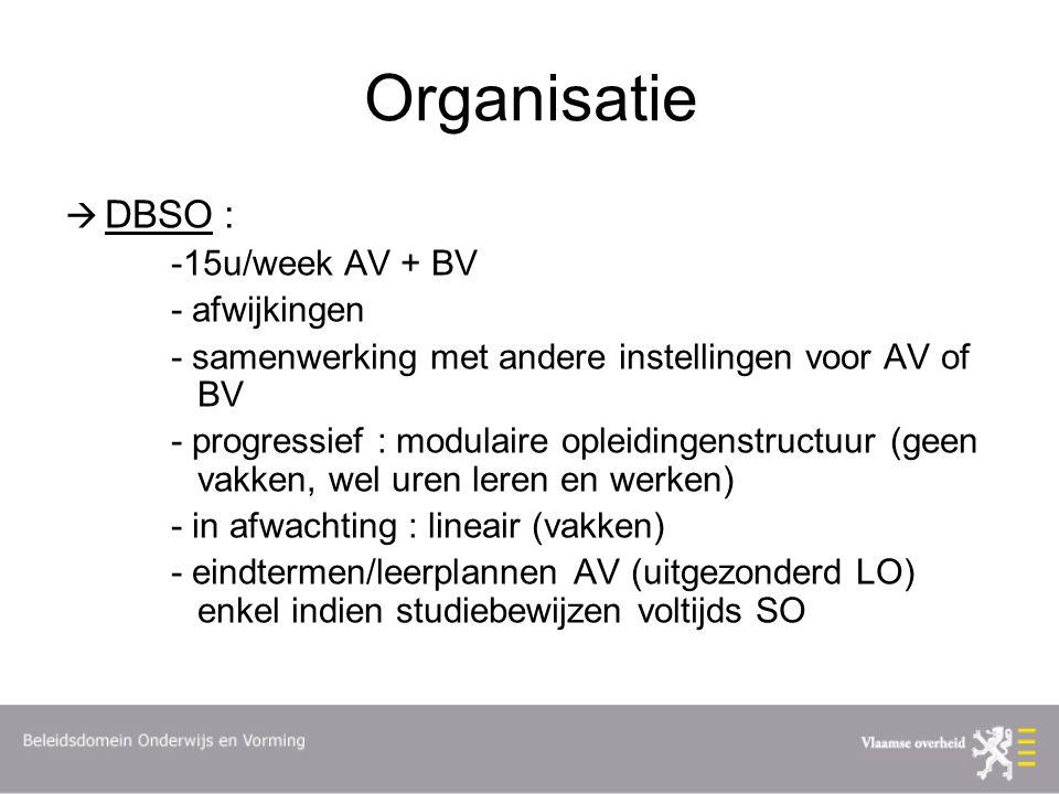 Organisatie  DBSO : -15u/week AV + BV - afwijkingen - samenwerking met andere instellingen voor AV of BV - progressief : modulaire opleidingenstructuur (geen vakken, wel uren leren en werken) - in afwachting : lineair (vakken) - eindtermen/leerplannen AV (uitgezonderd LO) enkel indien studiebewijzen voltijds SO