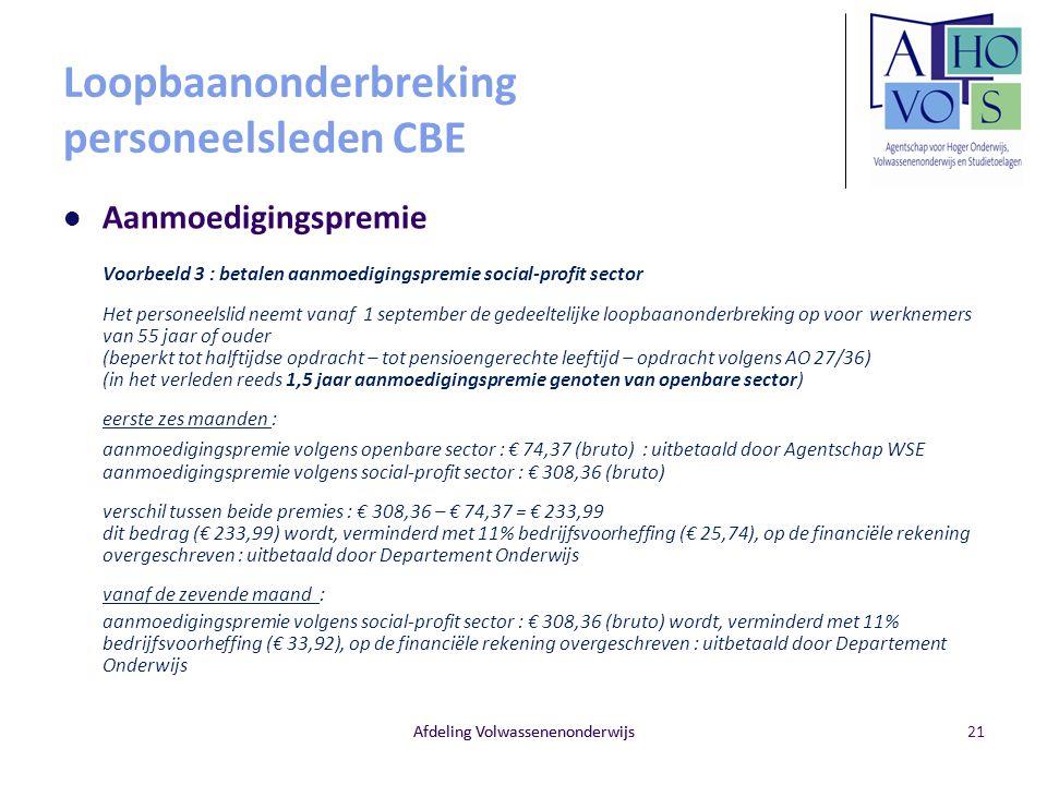 Afdeling Volwassenenonderwijs Loopbaanonderbreking personeelsleden CBE Aanmoedigingspremie Voorbeeld 3 : betalen aanmoedigingspremie social-profit sec