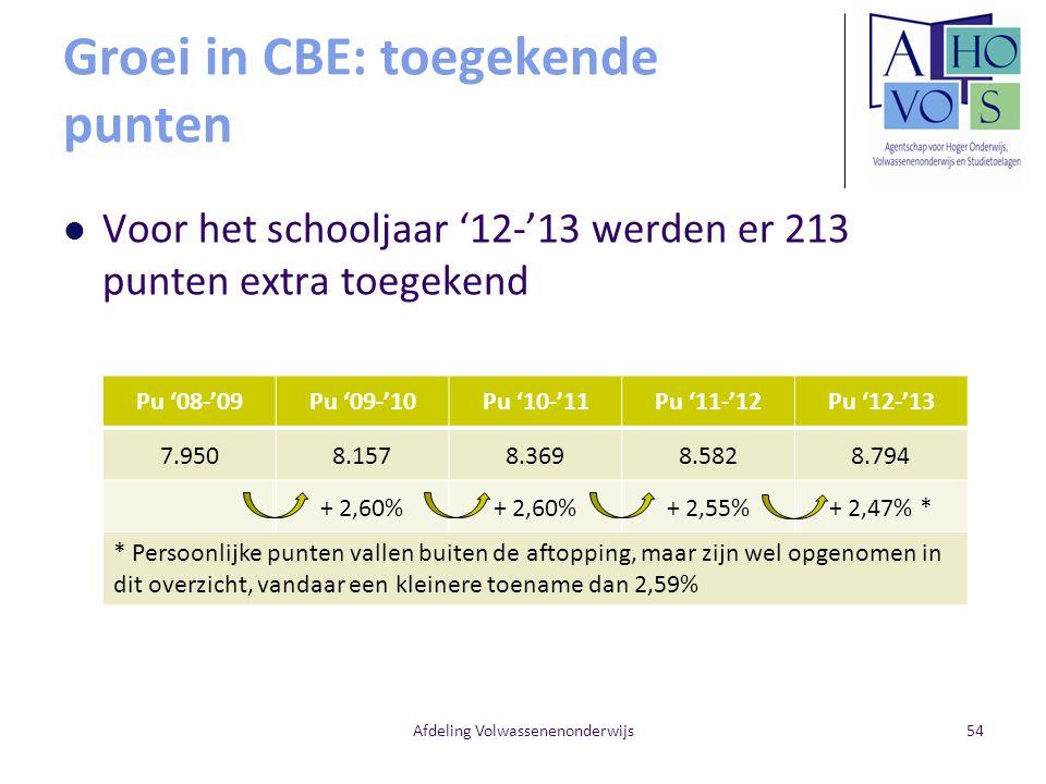 Groei in CBE: toegekende punten Voor het schooljaar '12-'13 werden er 213 punten extra toegekend Afdeling Volwassenenonderwijs Pu '08-'09Pu '09-'10Pu