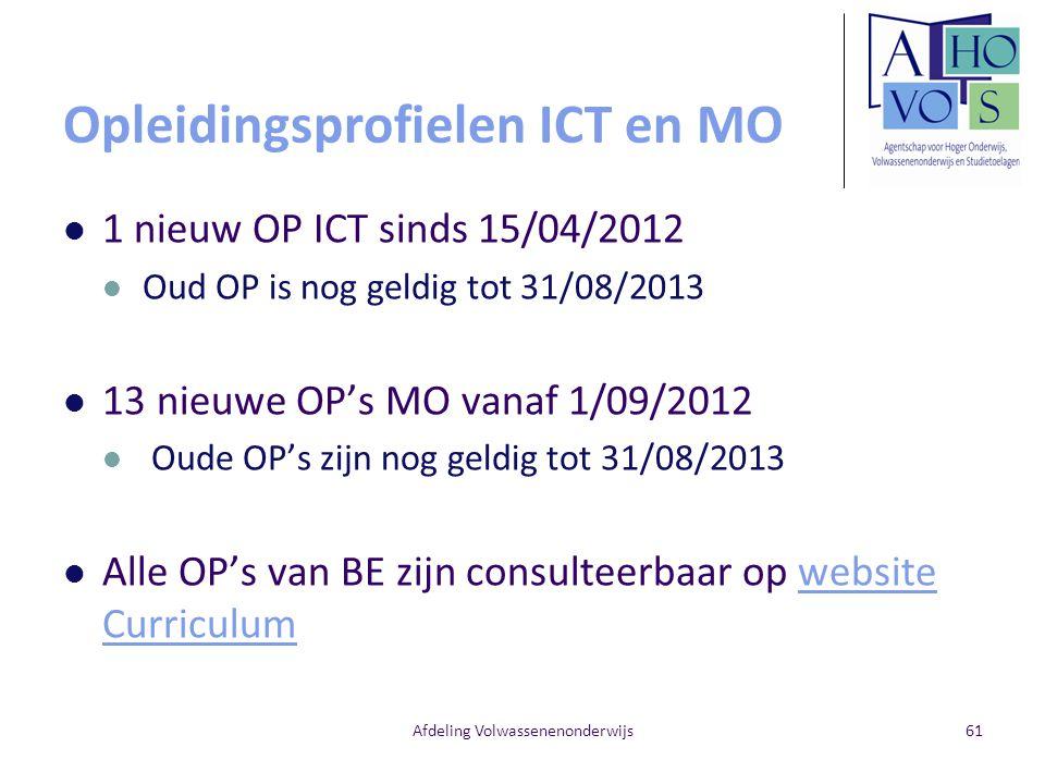 Opleidingsprofielen ICT en MO 1 nieuw OP ICT sinds 15/04/2012 Oud OP is nog geldig tot 31/08/2013 13 nieuwe OP's MO vanaf 1/09/2012 Oude OP's zijn nog