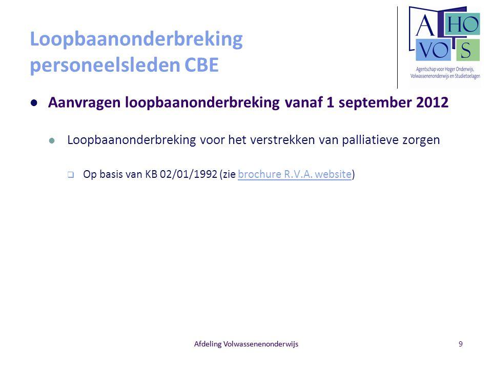 Loopbaanonderbreking personeelsleden CBE Aanvragen loopbaanonderbreking vanaf 1 september 2012 Loopbaanonderbreking voor het verstrekken van palliatie