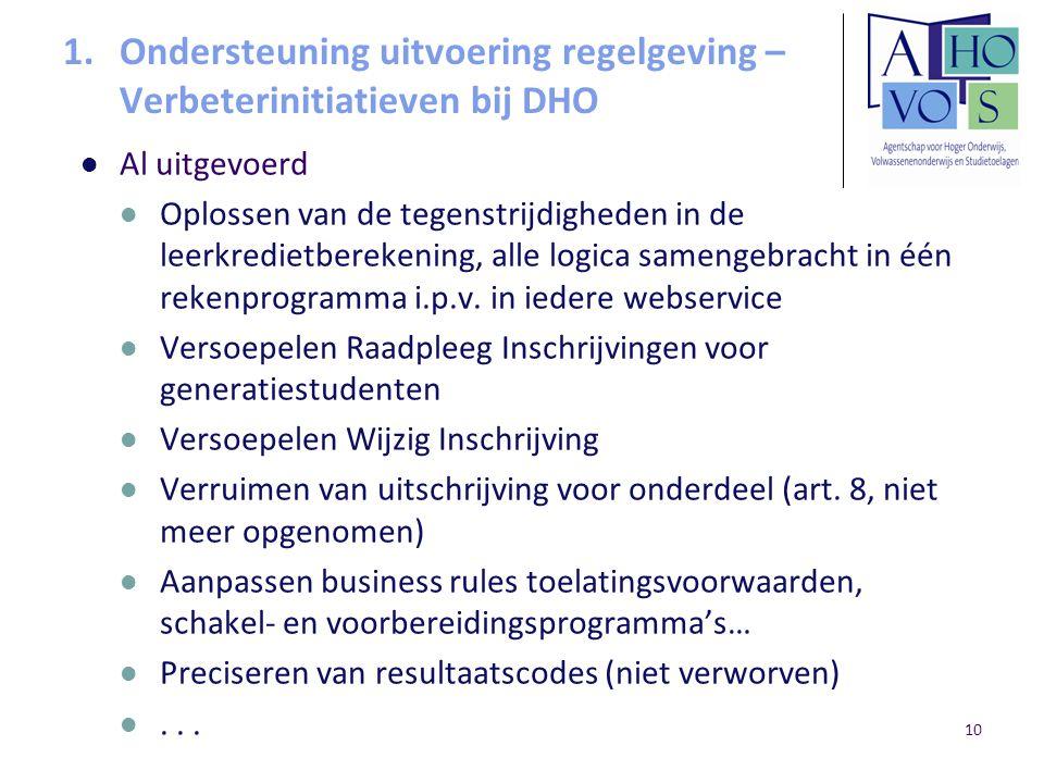 10 1.Ondersteuning uitvoering regelgeving – Verbeterinitiatieven bij DHO Al uitgevoerd Oplossen van de tegenstrijdigheden in de leerkredietberekening,