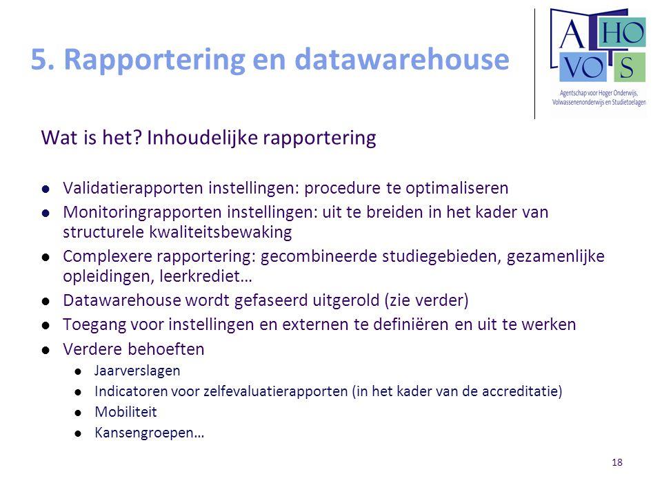 18 5. Rapportering en datawarehouse Wat is het? Inhoudelijke rapportering Validatierapporten instellingen: procedure te optimaliseren Monitoringrappor