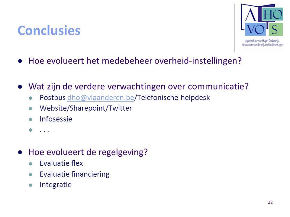 22 Conclusies Hoe evolueert het medebeheer overheid-instellingen? Wat zijn de verdere verwachtingen over communicatie? Postbus dho@vlaanderen.be/Telef