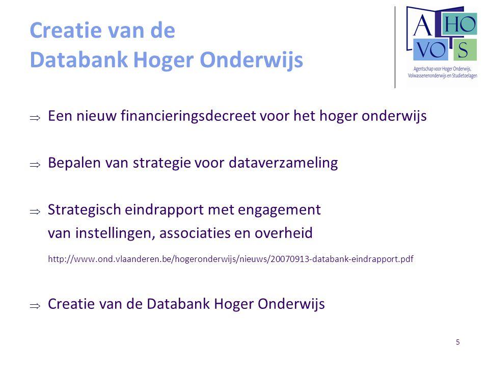 5 Creatie van de Databank Hoger Onderwijs  Een nieuw financieringsdecreet voor het hoger onderwijs  Bepalen van strategie voor dataverzameling  Str