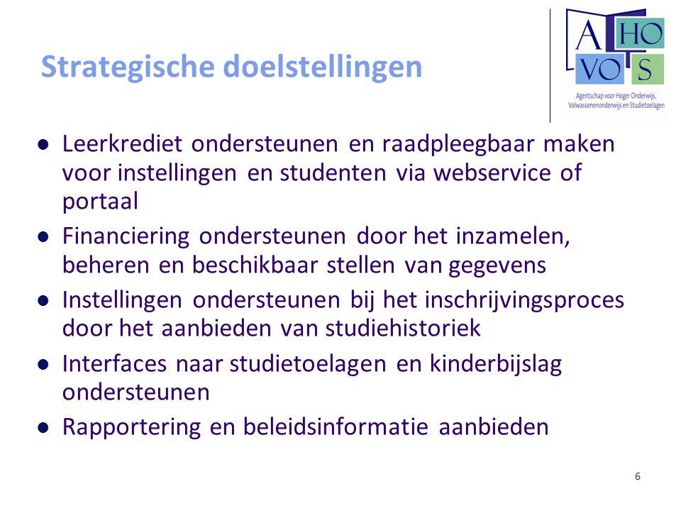 6 Strategische doelstellingen Leerkrediet ondersteunen en raadpleegbaar maken voor instellingen en studenten via webservice of portaal Financiering on