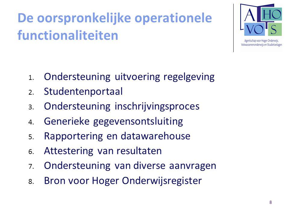 8 De oorspronkelijke operationele functionaliteiten 1. Ondersteuning uitvoering regelgeving 2. Studentenportaal 3. Ondersteuning inschrijvingsproces 4