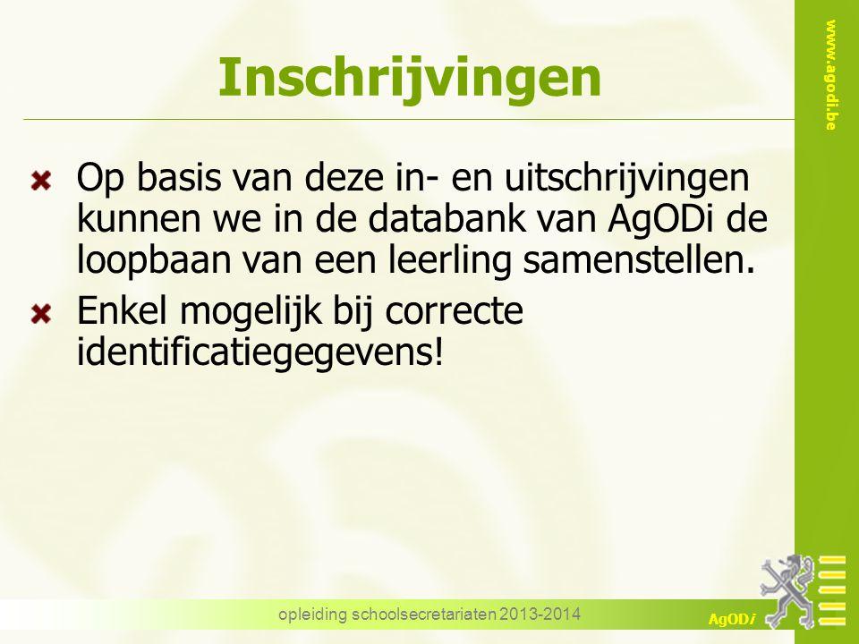 www.agodi.be AgODi Inschrijvingen Op basis van deze in- en uitschrijvingen kunnen we in de databank van AgODi de loopbaan van een leerling samenstelle