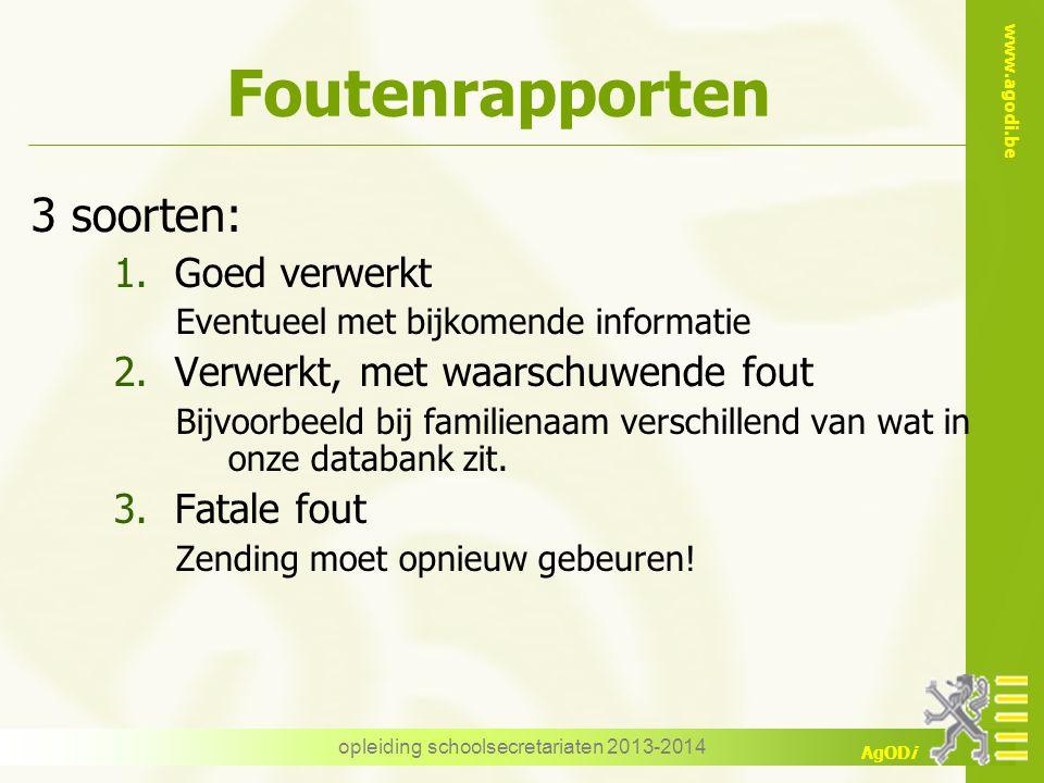 www.agodi.be AgODi Foutenrapporten 3 soorten: 1.Goed verwerkt Eventueel met bijkomende informatie 2.Verwerkt, met waarschuwende fout Bijvoorbeeld bij
