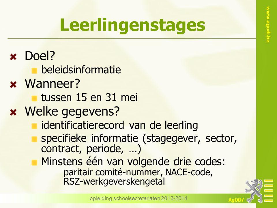 www.agodi.be AgODi Leerlingenstages Doel? beleidsinformatie Wanneer? tussen 15 en 31 mei Welke gegevens? identificatierecord van de leerling specifiek