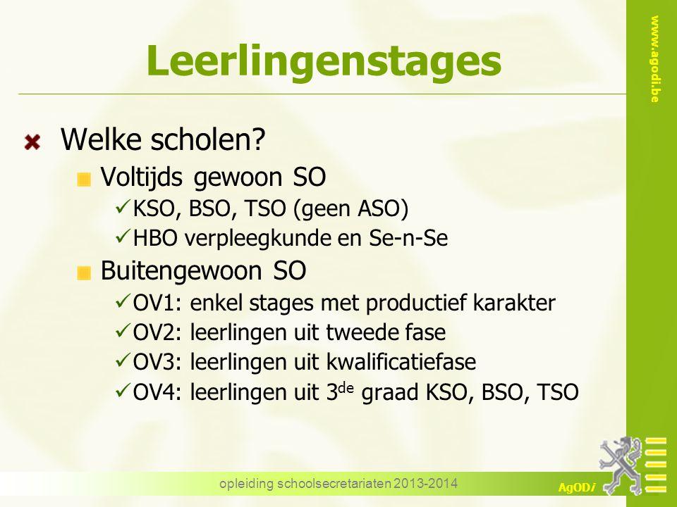 www.agodi.be AgODi Leerlingenstages Welke scholen? Voltijds gewoon SO KSO, BSO, TSO (geen ASO) HBO verpleegkunde en Se-n-Se Buitengewoon SO OV1: enkel