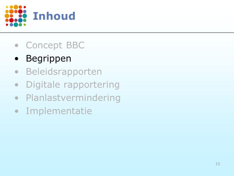 10 Inhoud Concept BBC Begrippen Beleidsrapporten Digitale rapportering Planlastvermindering Implementatie