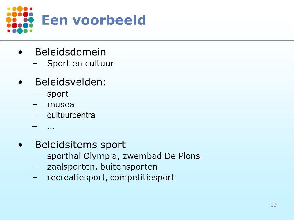 13 Een voorbeeld Beleidsdomein –Sport en cultuur Beleidsvelden: –sport –musea –cultuurcentra –... Beleidsitems sport –sporthal Olympia, zwembad De Plo