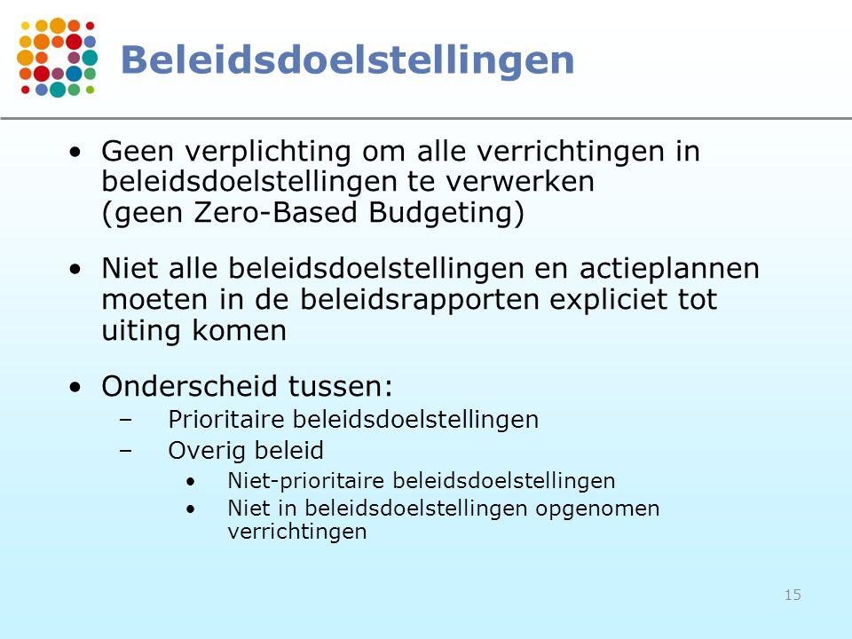 15 Beleidsdoelstellingen Geen verplichting om alle verrichtingen in beleidsdoelstellingen te verwerken (geen Zero-Based Budgeting) Niet alle beleidsdo