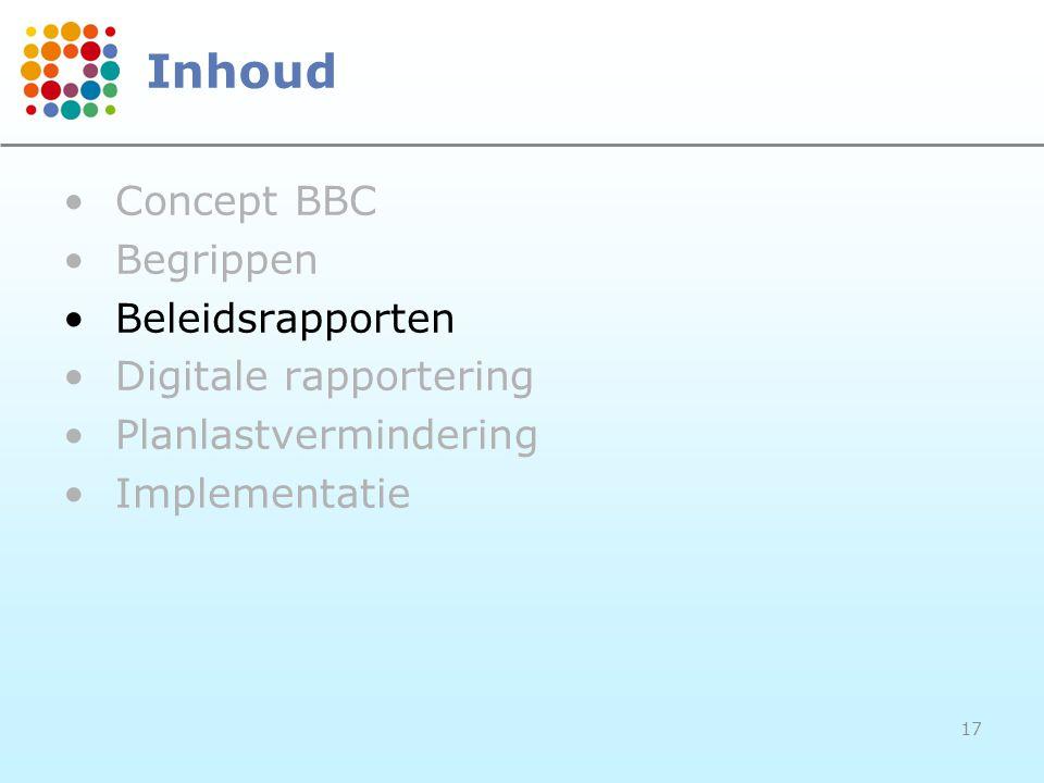 17 Inhoud Concept BBC Begrippen Beleidsrapporten Digitale rapportering Planlastvermindering Implementatie