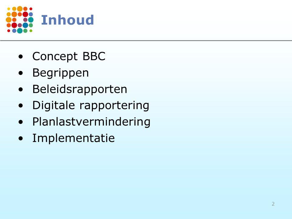 2 Inhoud Concept BBC Begrippen Beleidsrapporten Digitale rapportering Planlastvermindering Implementatie