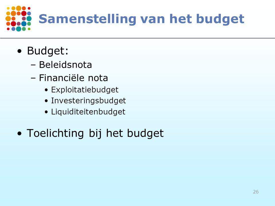 26 Samenstelling van het budget Budget: –Beleidsnota –Financiële nota Exploitatiebudget Investeringsbudget Liquiditeitenbudget Toelichting bij het bud