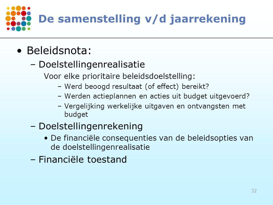 32 De samenstelling v/d jaarrekening Beleidsnota: –Doelstellingenrealisatie Voor elke prioritaire beleidsdoelstelling: –Werd beoogd resultaat (of effe
