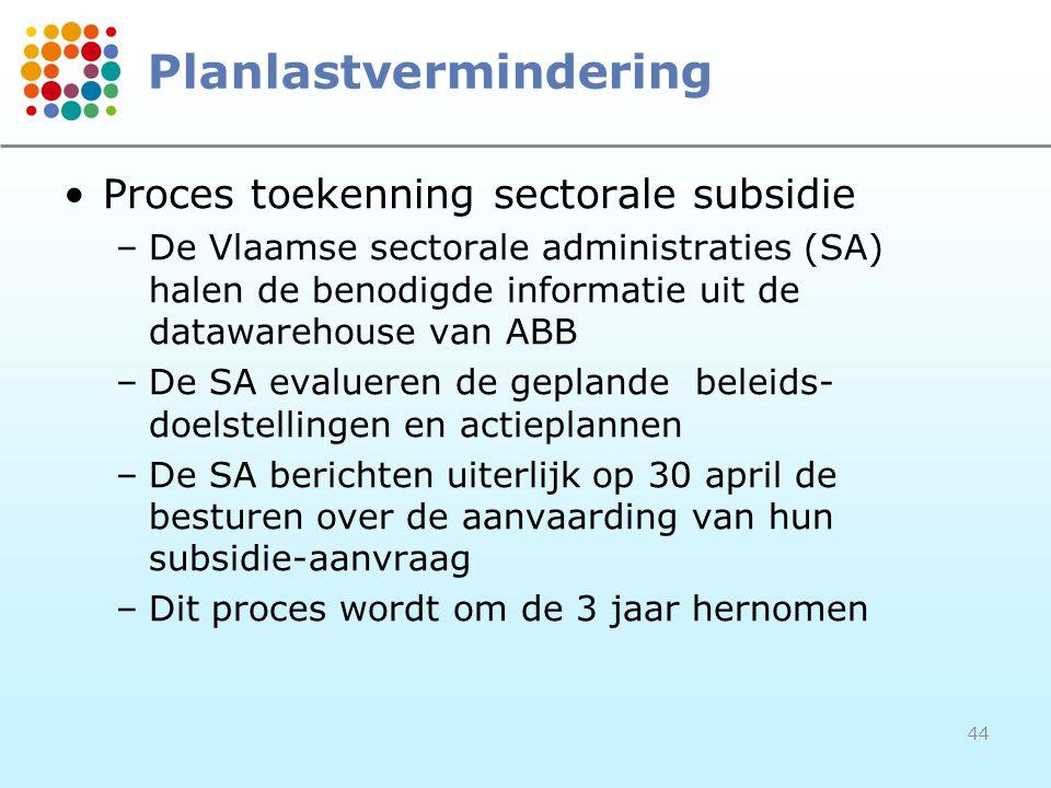 44 Planlastvermindering Proces toekenning sectorale subsidie –De Vlaamse sectorale administraties (SA) halen de benodigde informatie uit de datawareho
