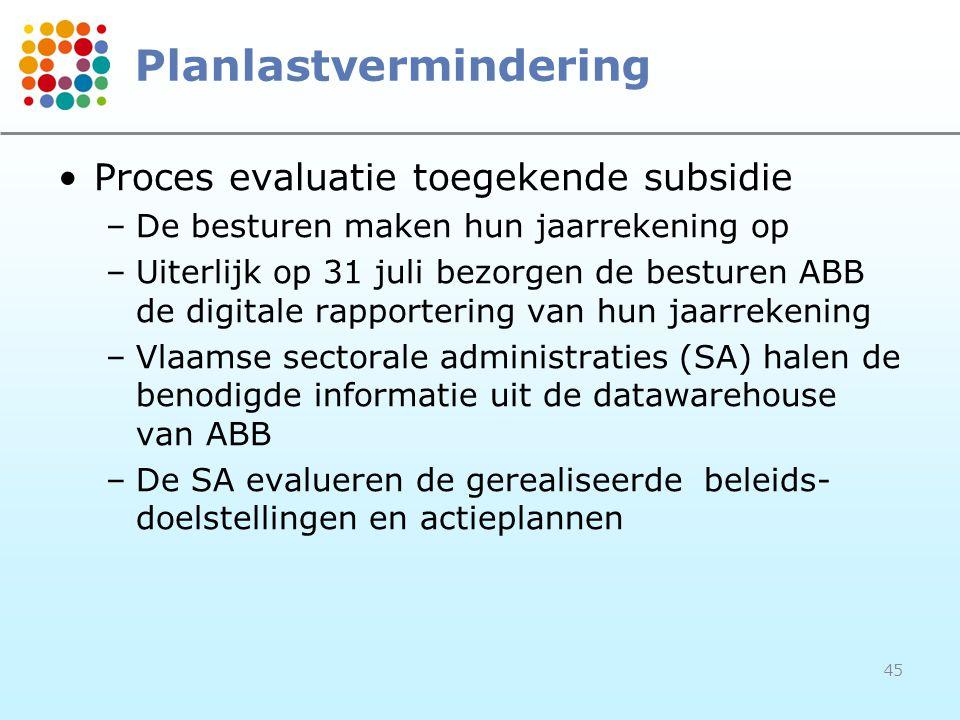 45 Planlastvermindering Proces evaluatie toegekende subsidie –De besturen maken hun jaarrekening op –Uiterlijk op 31 juli bezorgen de besturen ABB de