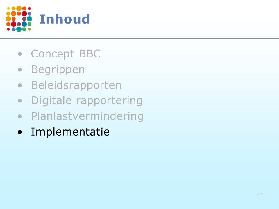 46 Inhoud Concept BBC Begrippen Beleidsrapporten Digitale rapportering Planlastvermindering Implementatie