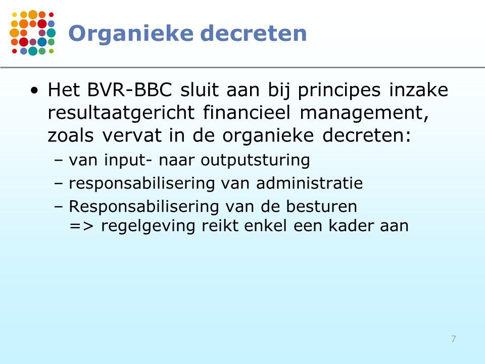 7 Organieke decreten Het BVR-BBC sluit aan bij principes inzake resultaatgericht financieel management, zoals vervat in de organieke decreten: –van in